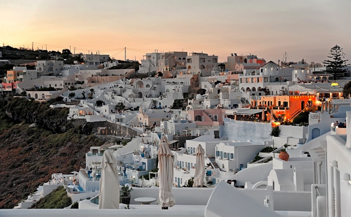 'The panorama of Firostefani at sunset on Santorini, Greece' - Santorini